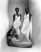 Ruching Posters - Three Models Sport Maxi-dresses Poster by Everett