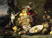 Basket Prints - Three Monkeys Stealing Fruit Print by Frans Snyders