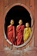 Buddhist Monk Photos - Three Monklets by Michele Burgess
