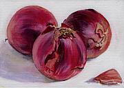 Food  Paintings - Three More Onions by Sarah Lynch