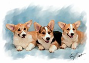 Puppies Digital Art - Three Musketeers Corgis by Maxine Bochnia