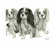 Spaniels Drawings Framed Prints - Three Musketeers Framed Print by Dawnstarstudios