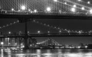 Black And White New York City Prints - Three New York Bridges 2 Print by Robert Ullmann
