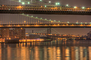 Lighted Street Framed Prints - Three New York Bridges Framed Print by Clarence Holmes
