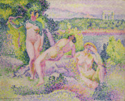 Bathers Framed Prints - Three Nudes Framed Print by Henri Edmond Cross