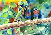 Parrot Painting Metal Prints - Three on a Branch Metal Print by Arline Wagner