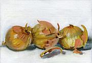 Food And Beverage Tapestries Textiles Prints - Three Onions Print by Sarah Lynch