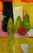 Acrylic Mixed Media Abstract Collage Prints - Three Or Four Pears Print by Laurie Breen