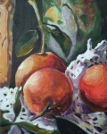 Oranges Painting Originals - Three Oranges by Aleksandra Buha