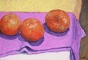Oranges Drawings - Three Oranges by Dolores Holt