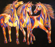 Abstract Horse Paintings - Three Paint Ponies by Jennifer Morrison Godshalk