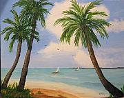Coconut Trees Paintings - Three Palms by Rich Fotia