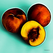 Three Peaches - Cyan Print by James Ahn