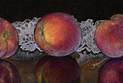 Peaches Pastels Framed Prints - Three Peaches Framed Print by Flo Hayes