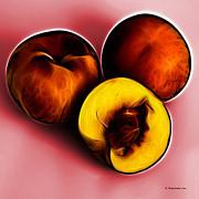 Three Peaches - Red Print by James Ahn