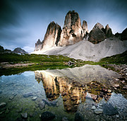 Italian Culture Posters - Three Peaks Reflection In Lake Poster by Matteo Colombo