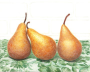 Food And Beverage Drawings Originals - Three Pears by Loraine LeBlanc
