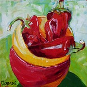 Suzanne Willis Metal Prints - Three Peppers Metal Print by Suzanne Willis