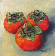 Persimmon Framed Prints - Three Persimmons Framed Print by Torrie Smiley