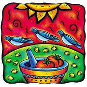 Cooking Ingredient Digital Art Posters - Three Pigeons Near A Mortar And Pestle Filled With Tomatoes Poster by Nadia Richie Studio