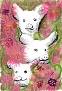 Looking At Camera Digital Art - Three Pigs In Flowers by Mamiko Ohashi