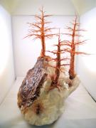 Fine Art Sculptures Mixed Media - Three Pines on Crystal by Judy Byington