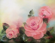 Roses Paintings - Three Pink Roses by Joni McPherson