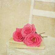 Pink White Framed Prints - Three Pink Roses Laying On Book On White Chair Framed Print by Kim Fearheiley Photography
