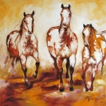 Featured Painting Prints - Three Pinto Indian Ponies Print by Marcia Baldwin