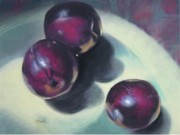 Donna Shortt Framed Prints - Three Plums Framed Print by Donna Shortt