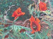 Red Poppies Pastels - Three Poppies by Abbie Groves