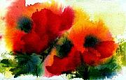 Flowers Posters - Three Poppies Poster by Anne Duke