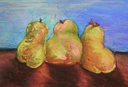 Three Pastels Metal Prints - Three Posing Pears Metal Print by Emily Michaud