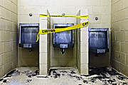 Public Restroom Prints - Three Public Urinals in Disrepair Print by Skip Nall