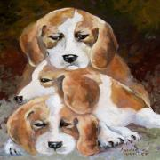 Puppies Painting Originals - Three Puppies by Audie Yenter
