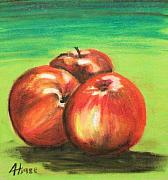 Group Pastels - Three Red Apples by Alan Hogan
