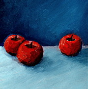 Closeup Prints - Three Red Apples Print by Michelle Calkins