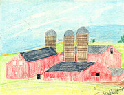 Old Barn Drawings - Three Red Barns by John Hoppy Hopkins