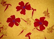 Weightless Prints - Three Red Blooms Print by Chris Berry