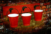Baskets Digital Art - Three Red Buckets by Svetlana Sewell