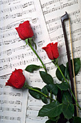 Music Note Posters - Three Red Roses  Poster by Garry Gay