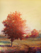 Autumn Country Road Posters - Three Red Trees Poster by Andrew King