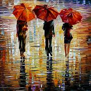 Rain Painting Framed Prints - Three Red Umbrella Framed Print by Leonid Afremov