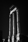 Pollux Prints - Three remaining columns and architrave of the temple of castor and pollux in the Imperial forum rome Print by Joe Fox