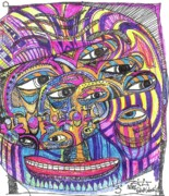 Faces Drawings - Three by Robert Wolverton Jr