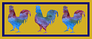Farmyard Digital Art Posters - Three Roosters Poster by Jenny Armitage