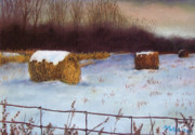 Woods Pastels - Three Round Bales by Marcus Moller