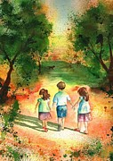 Children Walking Away Posters - Three s Company Poster by Sharon Mick