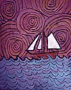 Spirals Posters - Three Sails and the Wind Poster by Wayne Potrafka