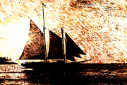 Backlit Digital Art Prints - Three Sails in Sunset Print by Andrea Barbieri